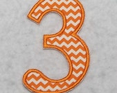 Birthday Number Three (4 inch Standard font) Tutu & Shirt Supplies - iron on Applique Patch 7104