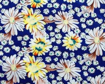 C2016B - 1 meter  Cotton Fabric - Chrysanthemum (blue) (145cm width)