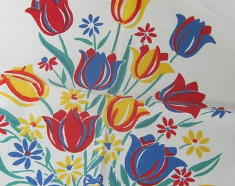 Vintage TULIP TOWEL Colorful Printed Cotton Kitchen Linens