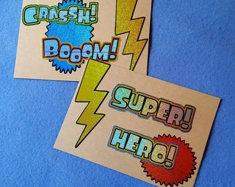 Super Hero - Two Manly Blank Greeting Cards - recycled kraft paper with prismatic stickers