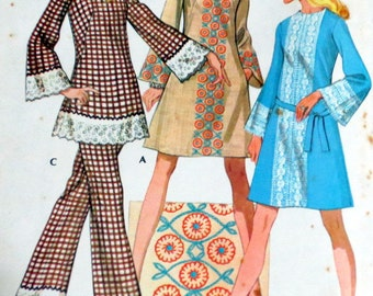 Uncut Vintage 1970s Bell Sleeve Mini Dress Bell Bottom Pants Pattern Bust 34 McCall's 2478