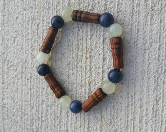 Men's olive wood and quartz stretch bracelet