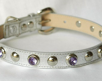 Leather Dog Collar, Silver with Silver & Lavender Rivets , Fancy Dog Collar . Three Medium sizes available.