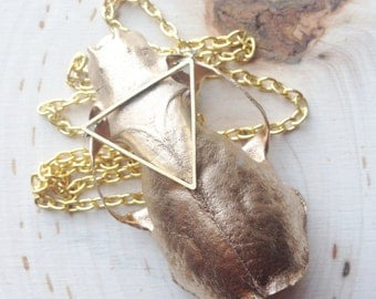 Gold Mink Skull Necklace, Real bone Jewelry, Animal Skull Necklace, Taxidermy Jewelry, pentagrams, wicca, wiccan