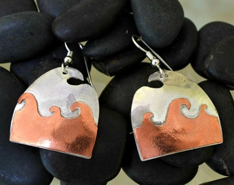 """Sterling silver and copper earrings.  """"Bird on a wave"""""""