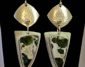 "Dark green ocean jasper silver earrings.  solid sterling.  ""August"""
