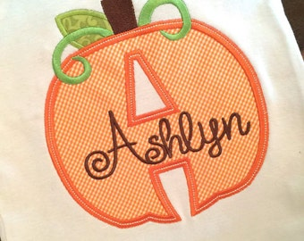 Cute Pumpkin Alphabet - Appliqued and Personalized Shirts