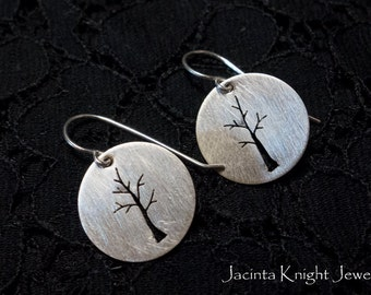 Round sterling silver tree earrings