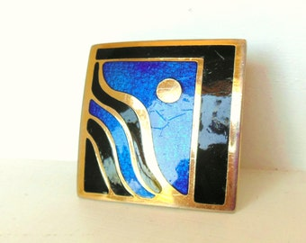 Vintage de Passille - Sylvestre Enamel Buckle Modernist Moon Blue Black Gold 60's (item 205)