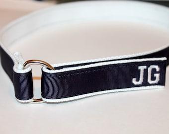Kids Velcro Belt with D Ring NAVY Navy Monogram Belt Monogram Velcro Belt Kids Wedding Attire Navy Webbing Belt Boys Wedding Belt