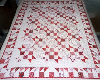 Hand Quilted Hand Embroidered Redwork Lap/Throw Red and White Alaskan Wildlife Quilt