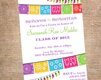 Fiesta Party Invitations - Graduation Invitations - Birthday Invitations - Mexican Fiesta Party - Custom Theme Party Invitations