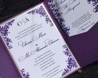 Purple Wedding Invitations, Wedding Invitations, Purple Wedding, Silver and Purple Wedding, RSVP envelope printing free