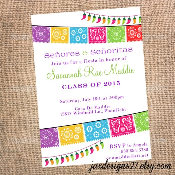 fiesta party invitations graduation invitations birthday, Birthday invitations