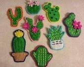 Embroidered Felt Cacti Brooch / Badges
