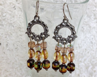Shades of Amber Glass Beaded Earrings