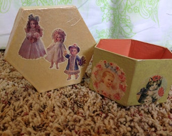 """Small Papier Mache Decorated Gift Box, Hand Decoupaged. One of a Kind. 3.5"""" x 2"""". Ready to Ship"""