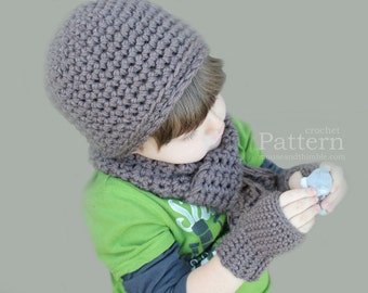Crochet Beanie, Scarf, & Gloves Set - Toddler Size / Easy Pattern - Printable Download - PDF 4521