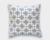 CLEARANCE 50% OFF Ready to Ship! Gray Chain Link Pillow Cover. 26x26 EURO size. Decorative Pillow. Storm Gray and White.