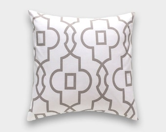 Ecru Bordeaux Pillow Cover. Choose from 12 Sizes. Lattice Geometric Cushion Cover.