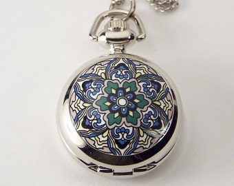 Personalized Pendant Watch Flower Design Custom Engraved Necklace Watch  - Hand Engraved
