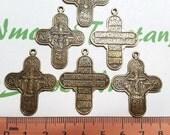 6 pcs per pack 35x27mm Reversible Holy Resurrection Cross Antique Bronze Lead free Pewter