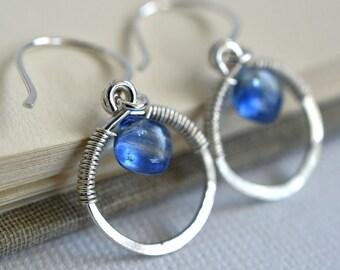 Kyanite Earrings, Blue Gemstone Earrings, Sterling Earrings, September Birthday, Wire Wrapped Earrings, Artisan Earrings, Circle Earrings