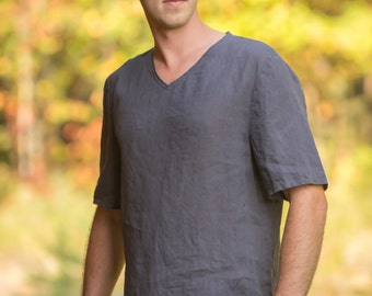 Pure Linen Top T-Shirt For Men