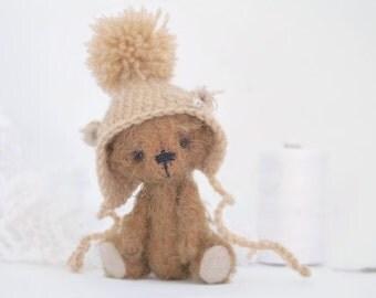 Collectible teddy bear Rantos 10 cm. Artist Bear OOAK