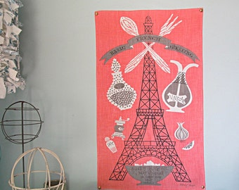 Vintage Linen Pink Paris Eiffel Tower French Dressing Recipe Kitchen Decor Tea Towel Pink and Gray