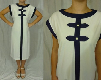vintage 1960s mod space age navy & white shift dress geometric trim 60s L/XL