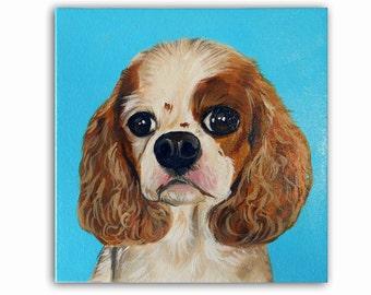 "8x8x1.5"" Custom Pet Portrait / Custom Dog Portrait -1 Pet - Close-Up Pastel background, Gallery Canvas Charles Spaniel"