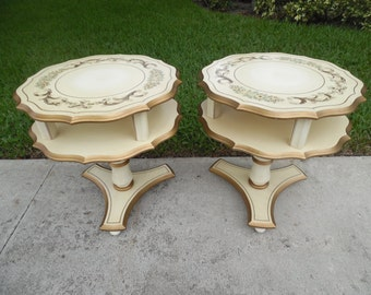 on sale FLIRTY 1930 / Pair Of Signed And Hand Painted Katherine Henick French Country Two Tiered Pedestal Tables