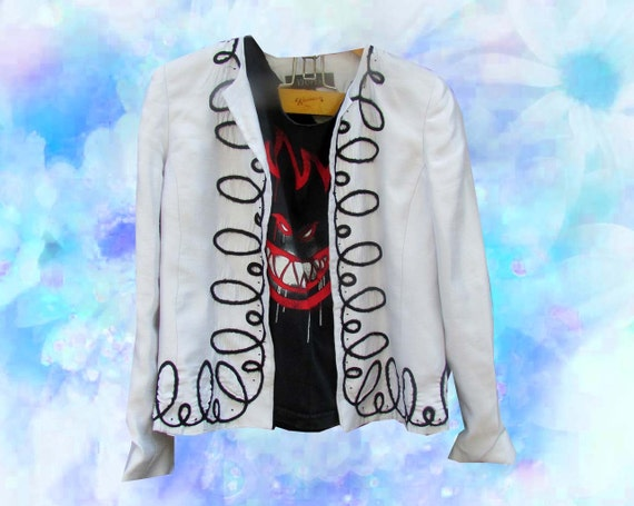 White Black Curly Q Chic Boxy Smokers Jacket Blazer Abstract Silky