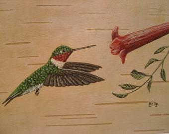 Hummingbird hand painted on birch bark by Ann Kelly.