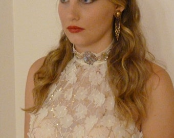 Bohemian Crop Top Sparkle Beaded and Long Skirt Bridesmaid Gold Sequins Red Carpet Party