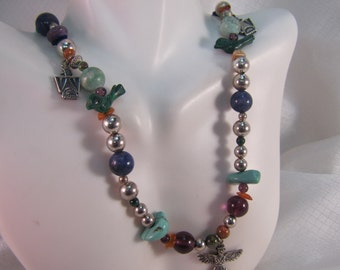 Navajo Styled - Native American Multi Semi Precious Beaded Necklace with Sterling Charms, Turquoise Stones