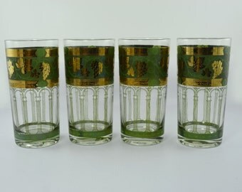 Retro Cera Old Fashion Highball Glassware in Golden Grapes-Green Pattern