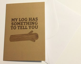Twin Peaks My Log Has Something To Tell you Greeting Card Blank Inside with Envelope