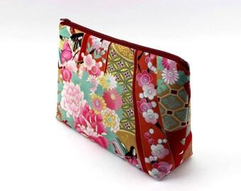 Kimono Cosmetic Pouch, Handmade Zipper Pouch, Gift Idea Under 15, Heian Girl Red