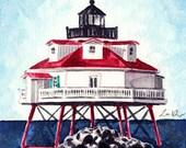 Thomas Point Shoal Lighthouse Giclee Print of Watercolor Painting Chesapeake Bay Maryland Light House Ocean Coastal Nautical Travel