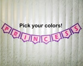 Girl Name Banner, Princess Banner, Name Banner, Cardstock Banner, Paper Banner, Mantel Banner, Pick Your Text Banner, Princess Style Girls