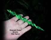 Spiral Hair Stick Emerald Water Acrylic 6 1/4 inches