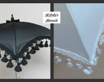 STAR PARASOL Umbrella in Black or White Satin with Tassel Fringe Sun Shade Shower Bridal Bridesmaid Second Line Sun Shade Wedding Flowergirl