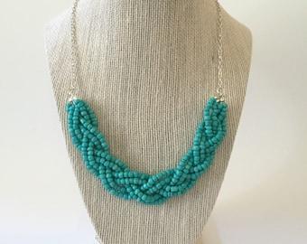 Turquoise Beaded Braid Necklace