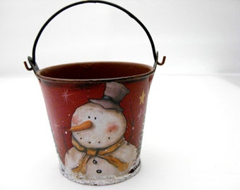 "Snowman Bucket - Snowman pail, primitive snowman, 3"" bucket, primitive Christmas decoration, red bucket, frosty snowman, doll accessory"
