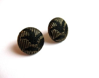 Fabric covered button earrings in gold and black