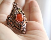 Dragon in the Forest - dragon vein agate statement ring size 8 copper intricate wire wrapped OOAK