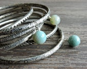 Stacked Bracelet Set: Bohemian Indian Gypsy Festival Jewelry, Turquoise Agate and Silver Bangles, Boho Engraved Bracelet Set, India