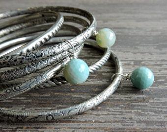 Stacked Bracelet Set: Bohemian Indian Gypsy Festival Jewelry, Turquoise Agate and Silver Bangles, Boho Engraved Bracelet Set, India